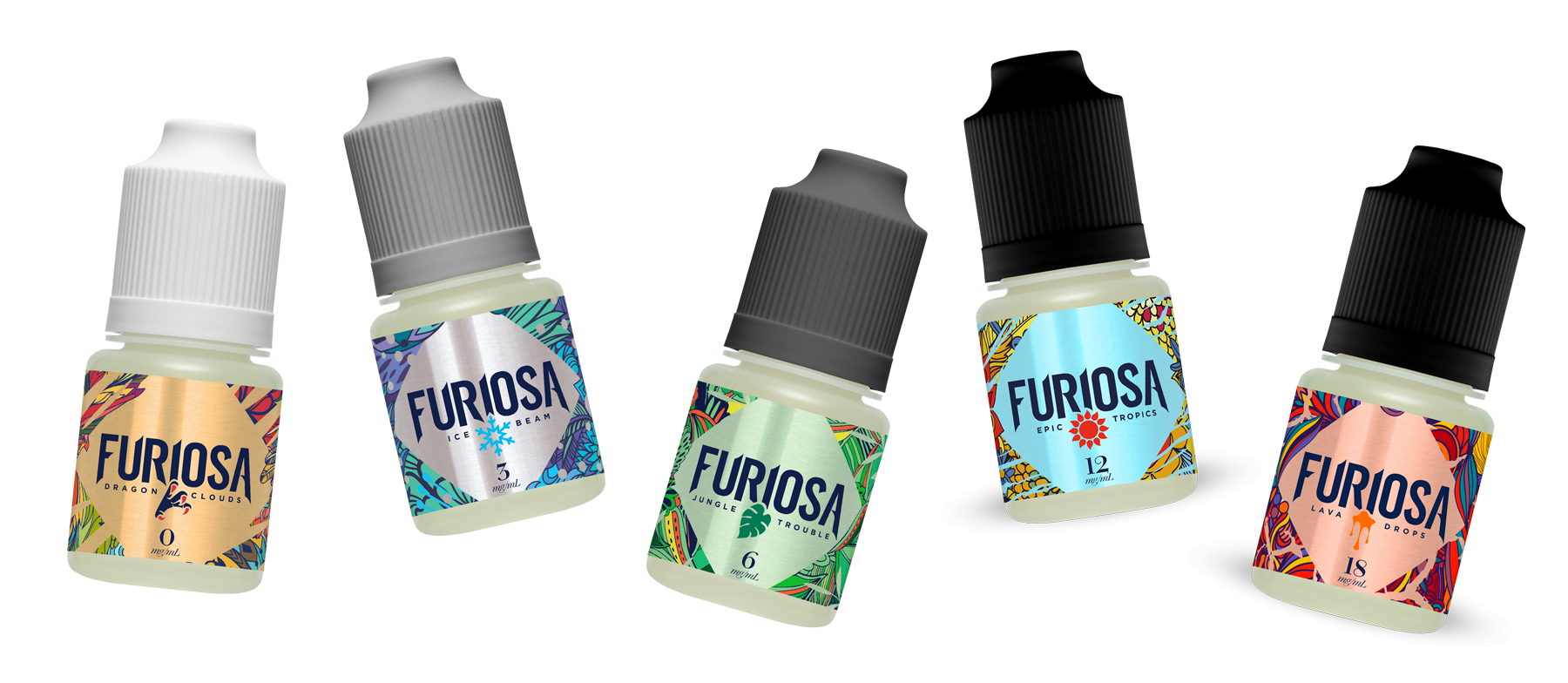 Flacon 10ml eliquid-FURIOSA-VAPOR dragon clouds lava drops ice beam jungle trouble